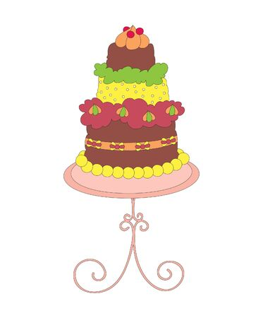 cake stand: Hand drawn colorful cake