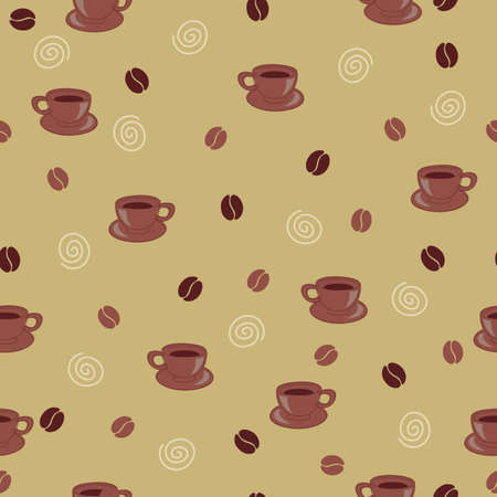 mania: Seamless wallpaper with coffee beans and cups