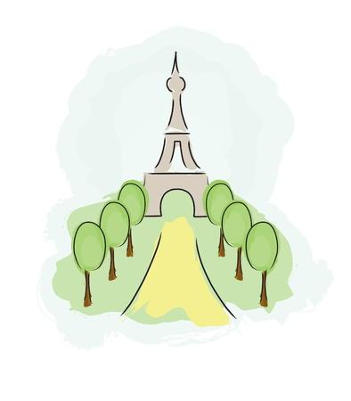 Eiffel tower. Hand drawn illustration