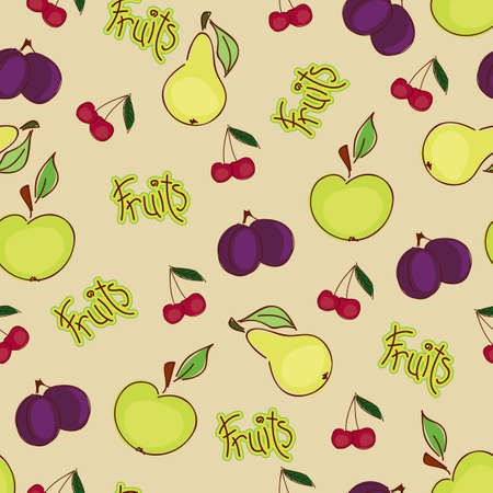 Seamless fruit wallpaper Vector