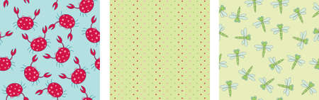green crab: Three colorful seamless backgrounds