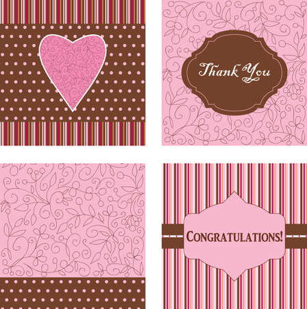 Four beautiful ornamental cards Vector