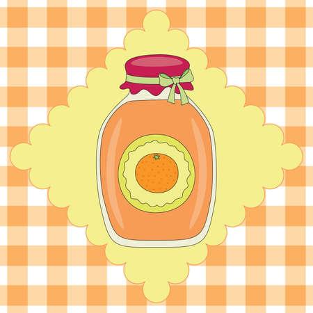 Jar with orange jam on background Stok Fotoğraf - 9491332