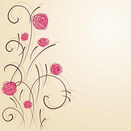 hand drawn flower: Floral vector wallpaper