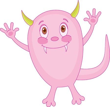 pattern monster: Carino piccolo mostro rosa Vettoriali