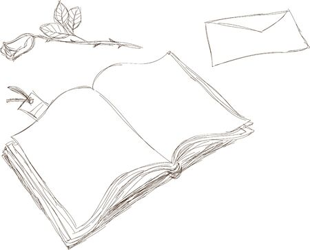 book mark: Hand drawn illustration on book, letter and rose