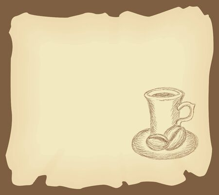 coffee beans: Hand drawn illustration of coffee cup on the old grunge paper