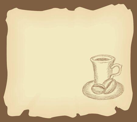 Hand getekend illustratie van koffiekopje op de oude grunge papier Stockfoto - 9527290