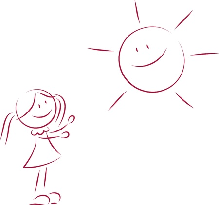 ponytails: Illustration of little girl and a sun Illustration
