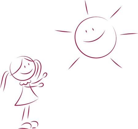 Illustration of little girl and a sun Vettoriali