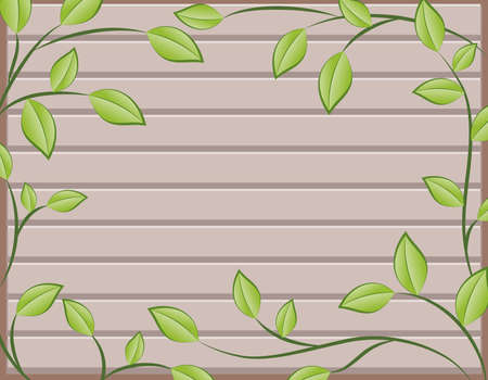 Natural wooden background with green plant Stock Vector - 9559195