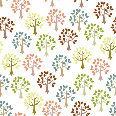 wallpaper: Cute seamless wallpaper with trees Illustration