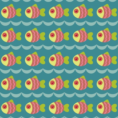 Seamless wallpaper with fishes Vector