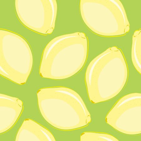 Seamless wallpaper with hand drawn lemons Vector