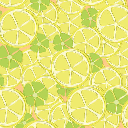 Seamless wallpaper with hand drawn lemons and flowers