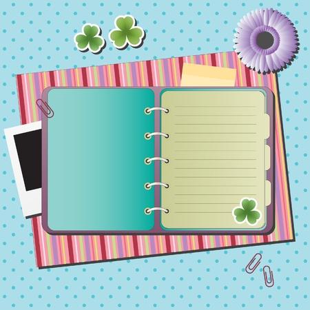 ferraille: Notebook blanc sur fond avec diff�rents �l�ments