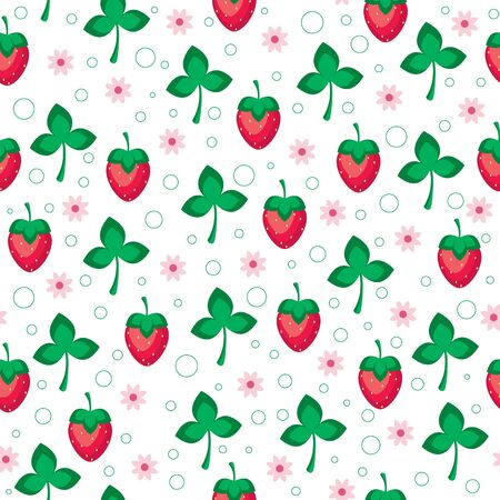 Seamless wallpaper pattern. Strawberries, flowers and leaves