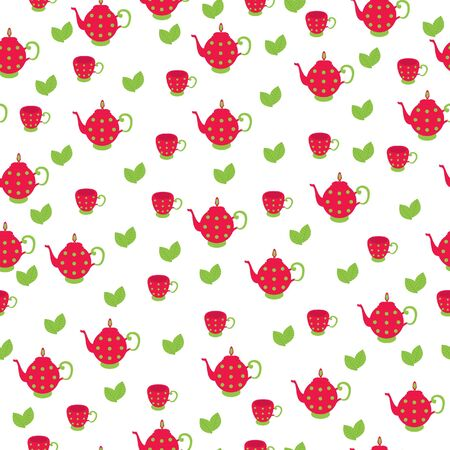 tea pot: Seamless wallpaper pattern. Red tea pot with cup and leaves on white background Illustration