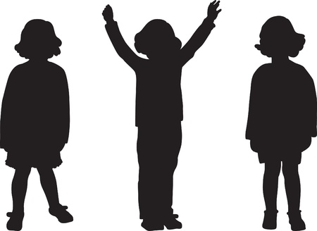 children silhouettes: Silhouettes of cute 4-years old girl