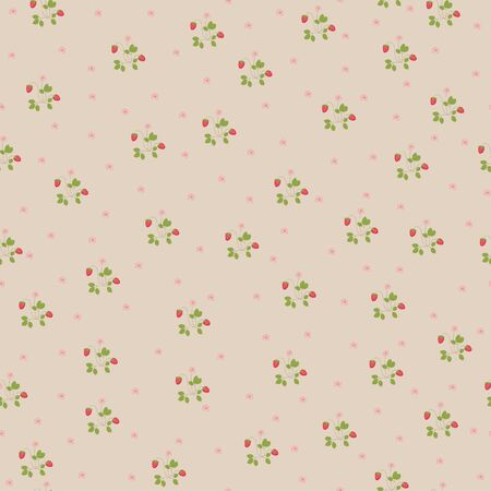 Floral seamless wallpaper with hand drawn strawberries Vector