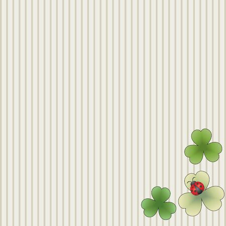 Striped background with leaves and ladybug Ilustracja