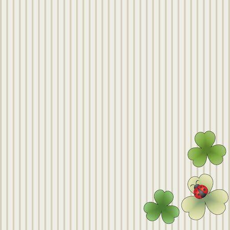 shamrock seamless: Striped background with leaves and ladybug Illustration