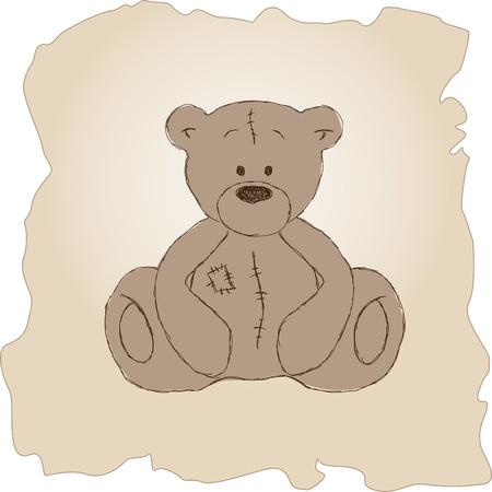 Hand drawn vintage teddy bear