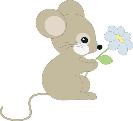 blumen cartoon: Niedliche kleine Maus Illustration