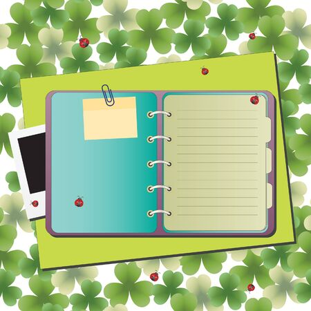 Blank notebook on background with ladybugs Vector