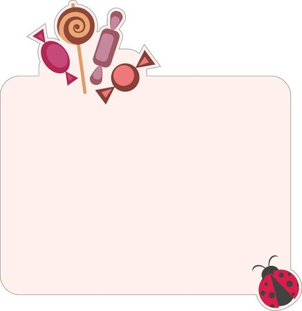 Blank paper with candies and ladybug