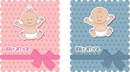 Baby arrival cards. Boy and girl Stock Vector - 9717820