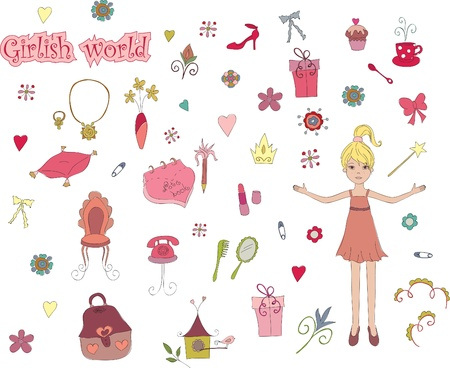 Girlish world. Hand drawn illustration of cute girlish things Stock Vector - 9717823
