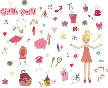 Girlish world. Hand drawn illustration of cute girlish things Ilustracja