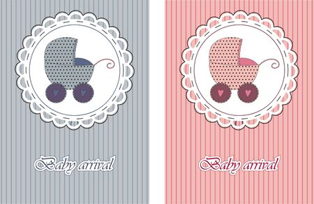 Baby arrival cards. Boy and girl Vector