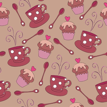 Seamless wallpaper with cup and muffin Çizim