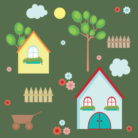 homes: Vector illustration of village elements
