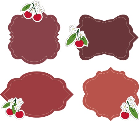 Blank stickers with cherry Stock Vector - 9920371