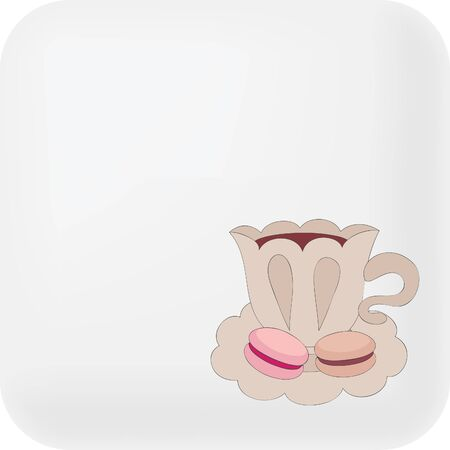 Button with cute cup of coffee and macaroons