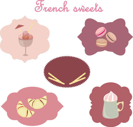 French sweets. Hand drawn illustration Vector