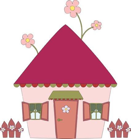toiture maison: Illustration tir�e par la main du Fun House
