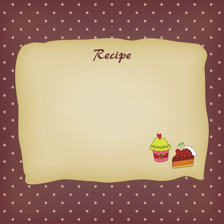 commercial kitchen: Recipe card with sweets