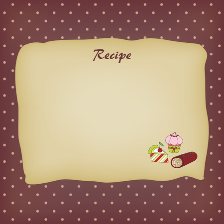 recipe decorated: Recipe card with sweets