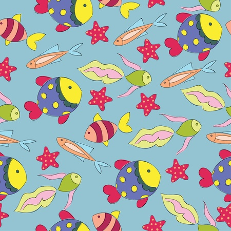 fishes: Bright seamless wallpaper with cute fishes Illustration
