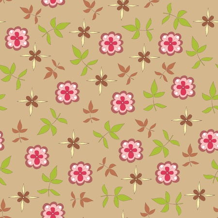 Seamless floral wallpaper with hand drawn elements Vector