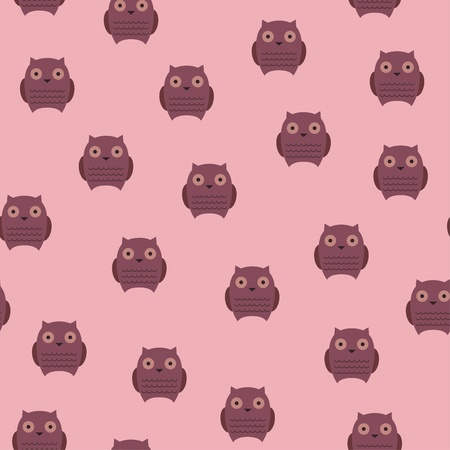 Seamless wallpaper with cute owls Ilustração