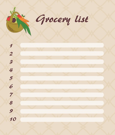 groceries shopping: blank grocery list