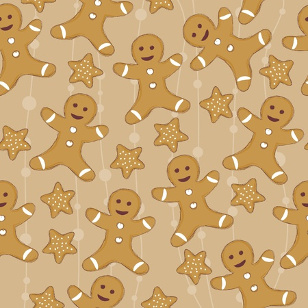 christmas cookie: Seamless wallpaper with cookie man