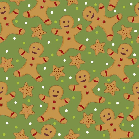 Seamless wallpaper with cookie man Vector