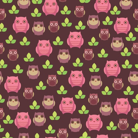 Seamless wallpaper with cute owls 일러스트