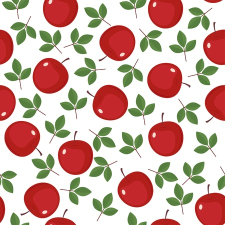 Seamless wallpaper with red apples and green leaves Illustration